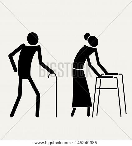 Elder senior man and woman. Two black graphic symbol. Vector illustration