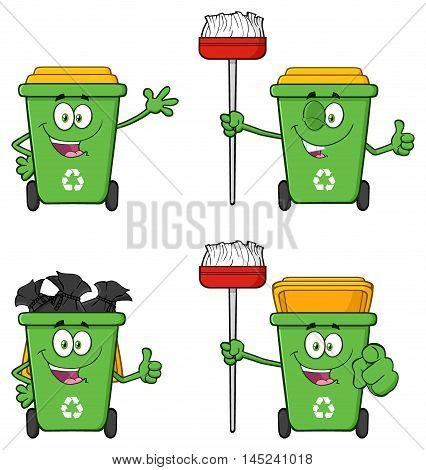Recycle Bin Cartoon Character 1. Collection Set Isolated On White Background
