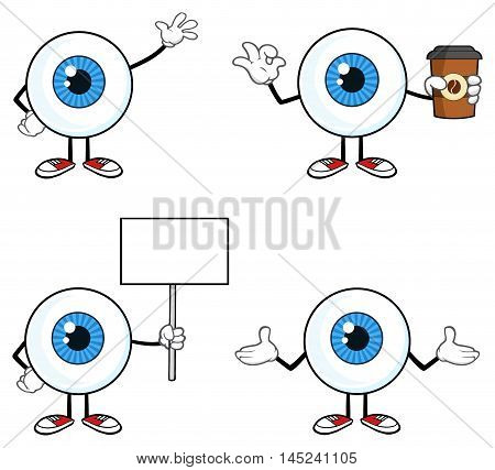 Blue Eyeball Guy Cartoon Mascot Character 2. Collection Set Isolated On White Background