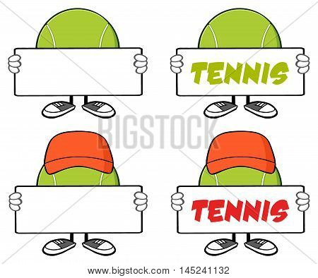 Tennis Ball Faceless Cartoon Mascot Character 3. Collection Set Isolated On White Background