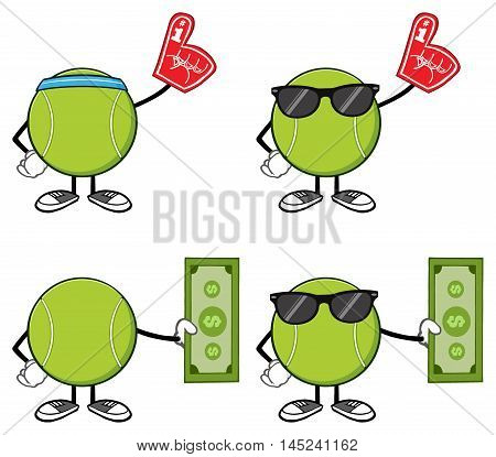 Tennis Ball Faceless Cartoon Mascot Character . Collection Set Isolated On White Background