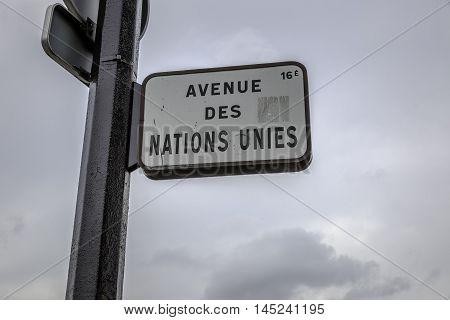 Avenue des Nations Unies street sign in Paris