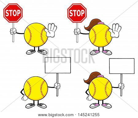 Softball Faceless Player Cartoon Character 6. Collection Set Isolated On White Background