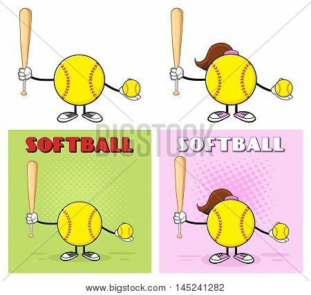 Softball Faceless Player Cartoon Character 9. Collection Set Isolated On White Background