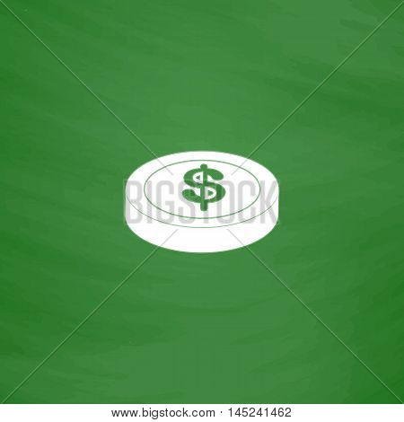 Casino chip. Flat Icon. Imitation draw with white chalk on green chalkboard. Flat Pictogram and School board background. Vector illustration symbol