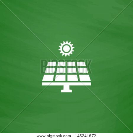 Solar energy panel. Flat Icon. Imitation draw with white chalk on green chalkboard. Flat Pictogram and School board background. Vector illustration symbol
