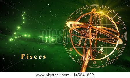 Armillary Sphere And Constellation Pisces Over Green Background. 3D Illustration.