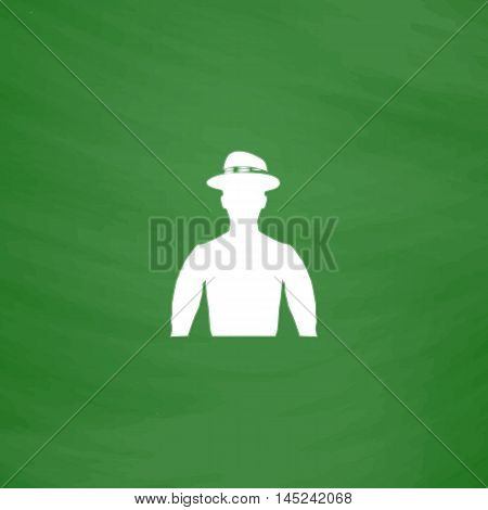 Cowboy. Flat Icon. Imitation draw with white chalk on green chalkboard. Flat Pictogram and School board background. Vector illustration symbol