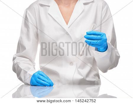 Female In Gown And Gloves Holding Empty Glass Test Tube
