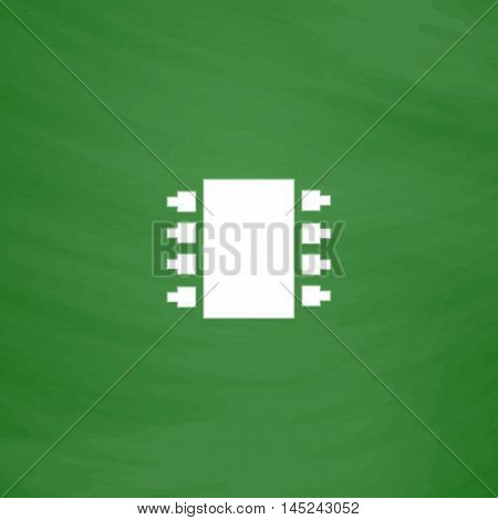 Microchip. Flat Icon. Imitation draw with white chalk on green chalkboard. Flat Pictogram and School board background. Vector illustration symbol