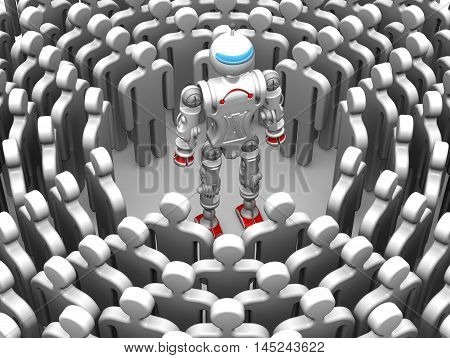 Humanoid robot is surrounded by symbolic people. Isolated. 3D Illustration