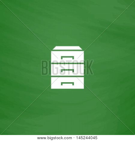 Chest of drawers. Flat Icon. Imitation draw with white chalk on green chalkboard. Flat Pictogram and School board background. Vector illustration symbol
