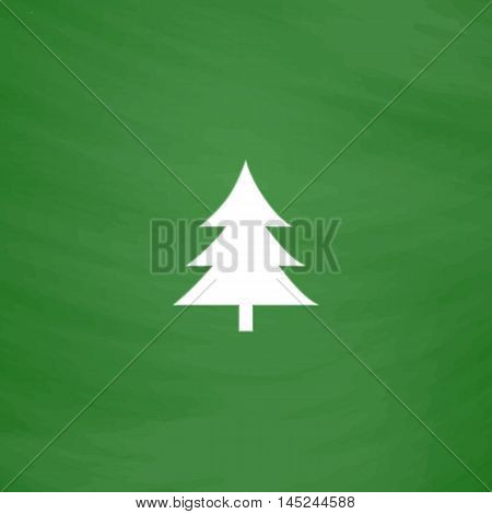Spruce, christmas tree. Flat Icon. Imitation draw with white chalk on green chalkboard. Flat Pictogram and School board background. Vector illustration symbol
