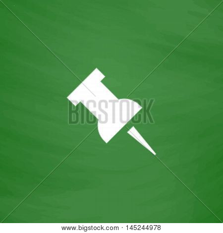 Simple Push pin. Flat Icon. Imitation draw with white chalk on green chalkboard. Flat Pictogram and School board background. Vector illustration symbol