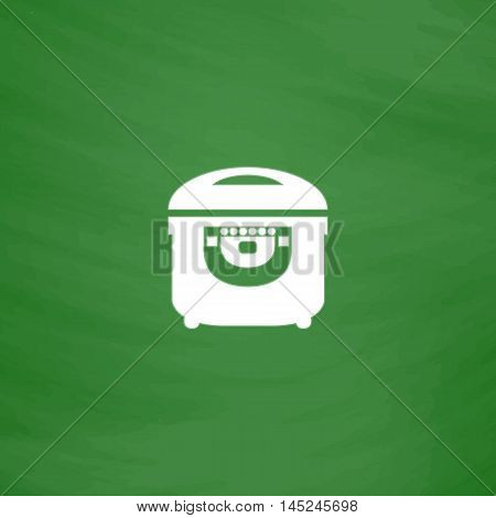 Electric Cooker. Flat Icon. Imitation draw with white chalk on green chalkboard. Flat Pictogram and School board background. Vector illustration symbol