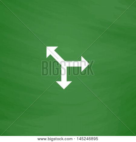 Three-way direction arrow. Flat Icon. Imitation draw with white chalk on green chalkboard. Flat Pictogram and School board background. Vector illustration symbol