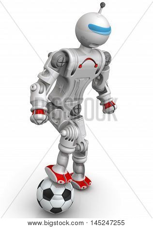Robot footballer. Humanoid robot with a soccer ball. Isolated. 3D Illustration