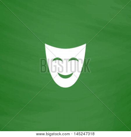 Joyful mask. Flat Icon. Imitation draw with white chalk on green chalkboard. Flat Pictogram and School board background. Vector illustration symbol