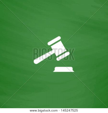 Judge gavel. Flat Icon. Imitation draw with white chalk on green chalkboard. Flat Pictogram and School board background. Vector illustration symbol