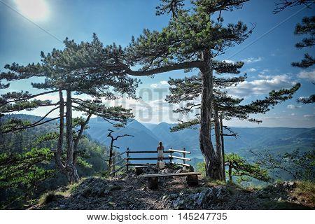 woman looking at view in Tara National Park, Serbia