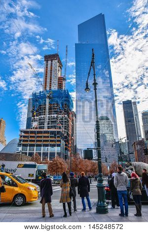NEW YORK - DECEMBER 28, 2015: Three World Trade Center (in construction) and Four World Trade Center. Manhattan, New York, USA.