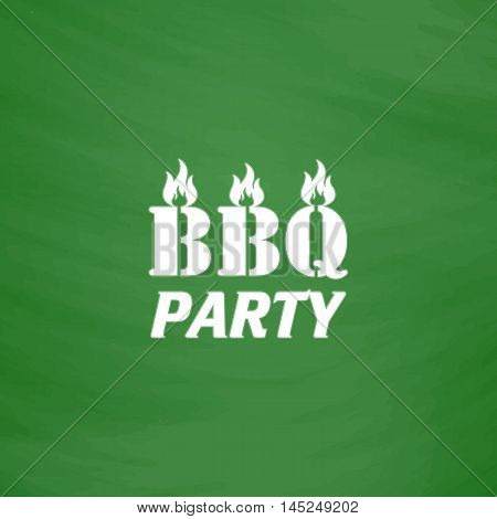Flaming BBQ Party word design element. Flat Icon. Imitation draw with white chalk on green chalkboard. Flat Pictogram and School board background. Vector illustration symbol