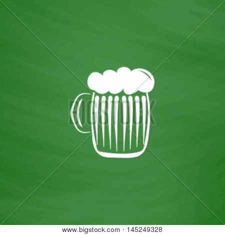Glass of beer with foam. Flat Icon. Imitation draw with white chalk on green chalkboard. Flat Pictogram and School board background. Vector illustration symbol
