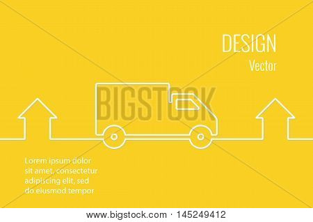 Delivery service line style drawn vector banner. Line drawn car and home. Shipment home to home. 24 hours.