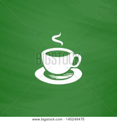 Cup of coffe. Flat Icon. Imitation draw with white chalk on green chalkboard. Flat Pictogram and School board background. Vector illustration symbol