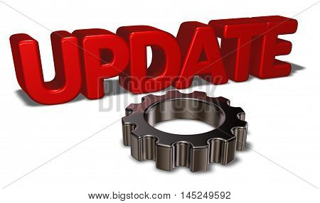 the word update and gear wheel - 3d rendering