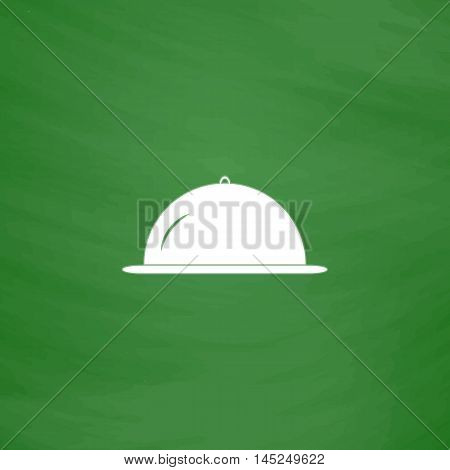 Restaurant cloche. Flat Icon. Imitation draw with white chalk on green chalkboard. Flat Pictogram and School board background. Vector illustration symbol