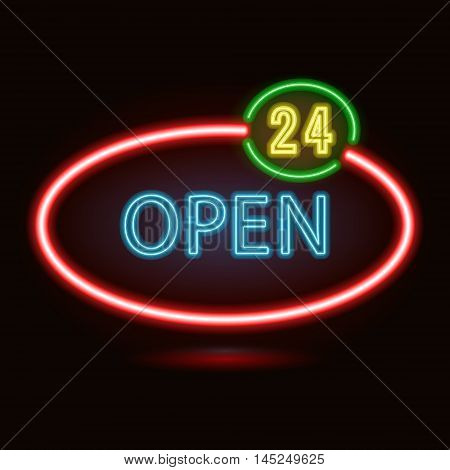 Vector neon sign with type  Open. Red and blue neon lights. 24 hours sign.