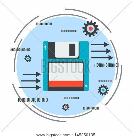 Data storage and transmission flat design style vector concept illustration