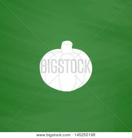 Pumpkin. Flat Icon. Imitation draw with white chalk on green chalkboard. Flat Pictogram and School board background. Vector illustration symbol