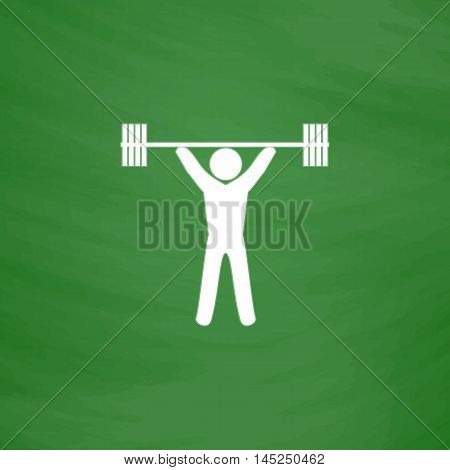 Weightlifting. Flat Icon. Imitation draw with white chalk on green chalkboard. Flat Pictogram and School board background. Vector illustration symbol