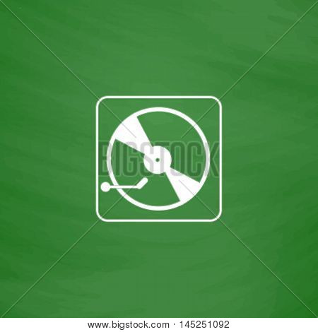 Vinyl record player. Flat Icon. Imitation draw with white chalk on green chalkboard. Flat Pictogram and School board background. Vector illustration symbol