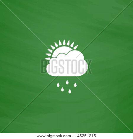 Rainy season. Flat Icon. Imitation draw with white chalk on green chalkboard. Flat Pictogram and School board background. Vector illustration symbol