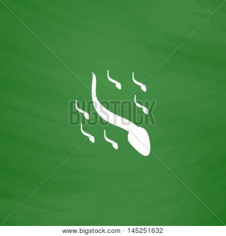 Group sperm swimming. Flat Icon. Imitation draw with white chalk on green chalkboard. Flat Pictogram and School board background. Vector illustration symbol