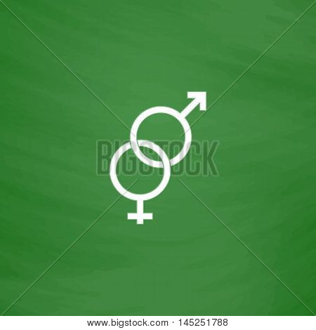 Twisted male and female sex symbol. Flat Icon. Imitation draw with white chalk on green chalkboard. Flat Pictogram and School board background. Vector illustration symbol