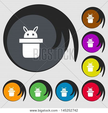 Magician Hat. Rabbit Ears Icon Sign. Symbols On Eight Colored Buttons. Vector