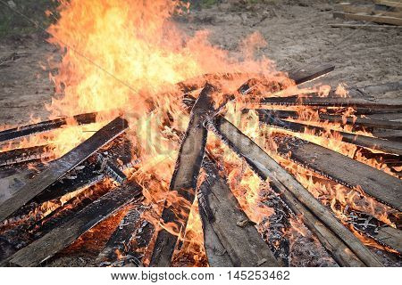 big fire place in nature on home place