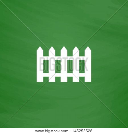 Fence icon. Flat Icon. Imitation draw with white chalk on green chalkboard. Flat Pictogram and School board background. Vector illustration symbol