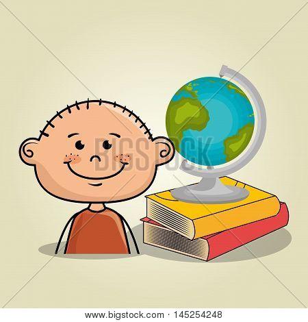 boy student books global vector illustration eps10 eps 10