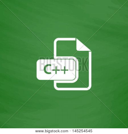 C development file format. Flat Icon. Imitation draw with white chalk on green chalkboard. Flat Pictogram and School board background. Vector illustration symbol