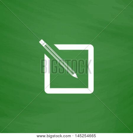Simple registration. Flat Icon. Imitation draw with white chalk on green chalkboard. Flat Pictogram and School board background. Vector illustration symbol