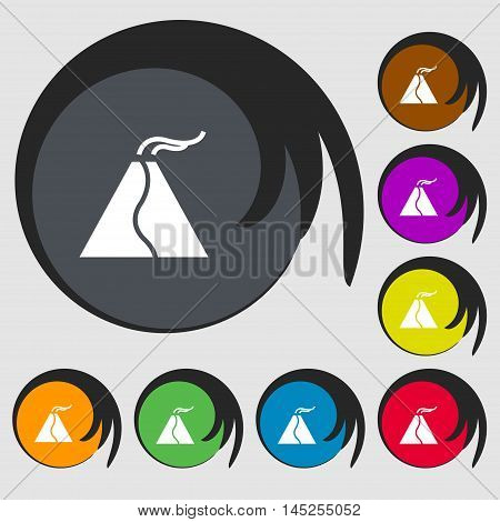 Active Erupting Volcano Icon Sign. Symbols On Eight Colored Buttons. Vector