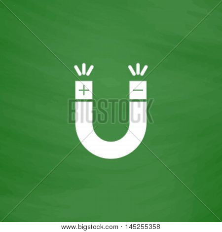Simple Magnet. Flat Icon. Imitation draw with white chalk on green chalkboard. Flat Pictogram and School board background. Vector illustration symbol