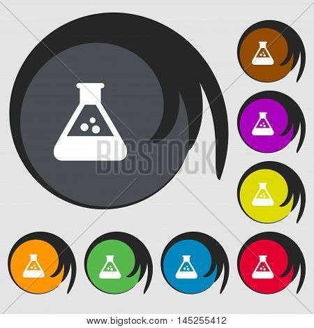 Chemistry Icon Sign. Symbols On Eight Colored Buttons. Vector