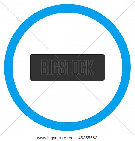 Minus vector bicolor rounded icon. Image style is a flat icon symbol inside a circle, blue and gray colors, white background.