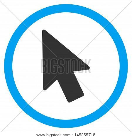 Mouse Pointer vector bicolor rounded icon. Image style is a flat icon symbol inside a circle, blue and gray colors, white background.